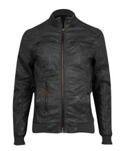 Biker Leather Jacket with Stretchable Waistband