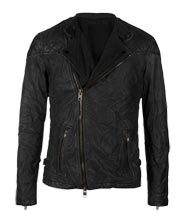 Biker Leather Jacket in Crumpled Style