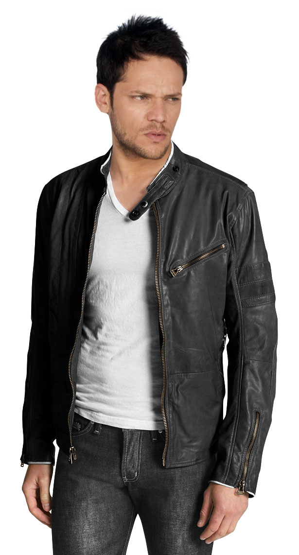 Cafe Racer Style Leather Biker Jacket For Men