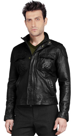 Moto Style Mens Leather Jacket