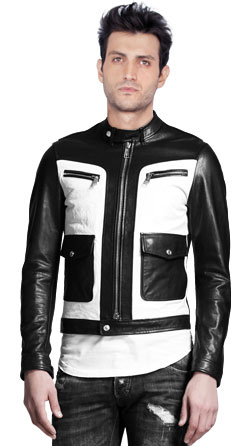 Two Tone Mens Leather Moto Jacket