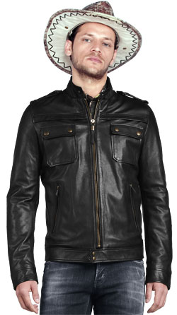 Mens Biker Jacket with Chest Buttoned Pockets