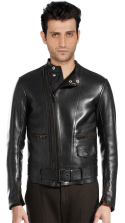 Belted Waistband Leather Biker Jacket