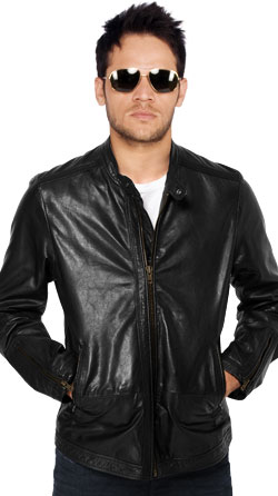 Round collar mens moto jacket