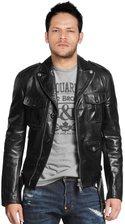 Mens Biker Jacket with Multiple Front Pockets