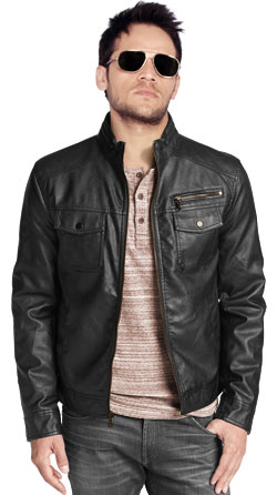 Slim-Fit Leather Biker Jacket for Men
