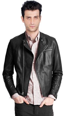 Off-center Front Zipped Moto Jacket