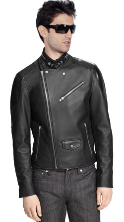 Suave cropped leather Moto jacket