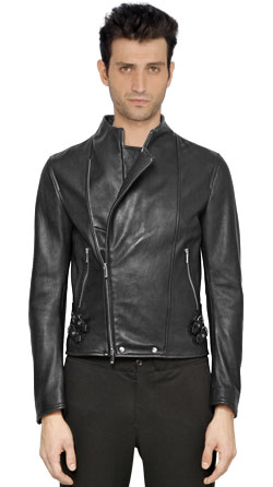 Chic leather jacket with adjustable strap detail