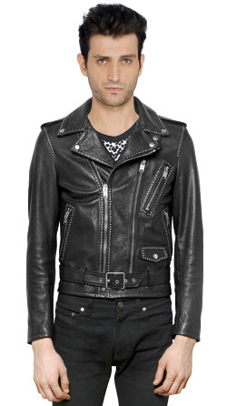 All over studded mens leather biker jacket
