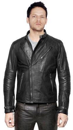 Men cafe racer style leather jacket with quilting