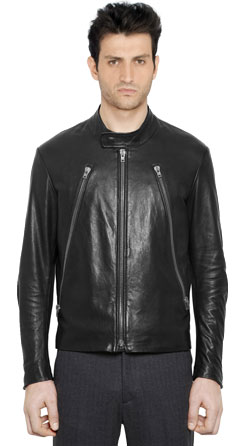 Men Leather Jacket with Snap Button Collar Closure
