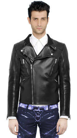 Utility Men Leather Jacket with Four Front Zipper Pockets