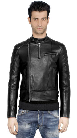 Men Leather Jacket with Quilted Shoulder and Sleeve Panels