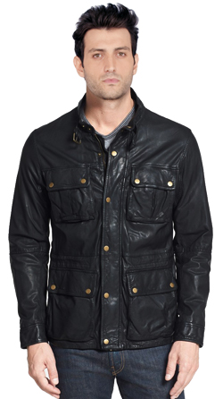 Mens Moto Leather Jacket with Zip and Snap-flap Placket Closure