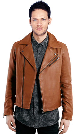 Mens Leather Rugged Biker with Asymmetrical Zip Closure