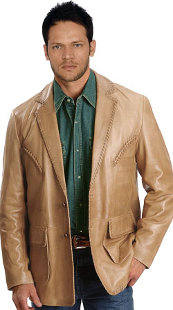 Rugged leather blazer for men with whipstitch hem