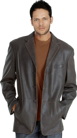 Notch lapel collar leather blazer for men