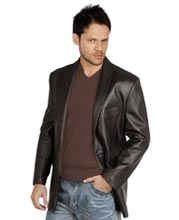 Satiny Leather Blazer for Men