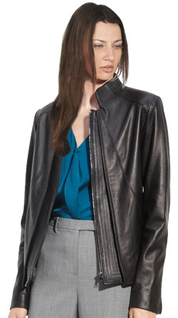 Svelte stand collar Womens leather blazer
