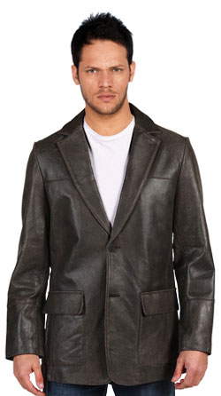 Double Back Vent Leather Blazer for Men