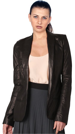 Shawl Collar Exquisite Women's Leather Blazer