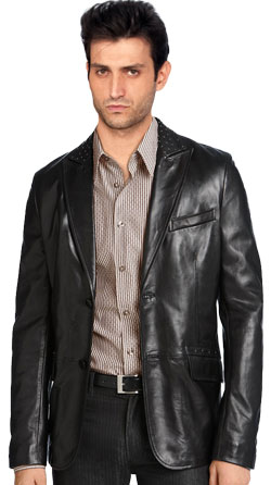Silver Studded Leather Blazer for Men