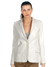 Sporty Leather Blazer with Snap Button Closure