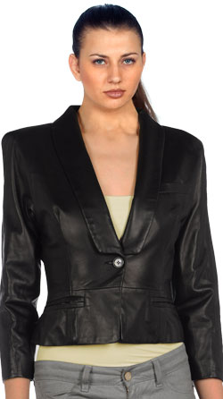 Women's Leather Blazer with Three-Pocket System