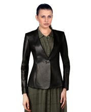 Formal One Push Button Leather Blazer