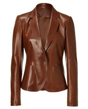 Suave Single Button Leather Blazer