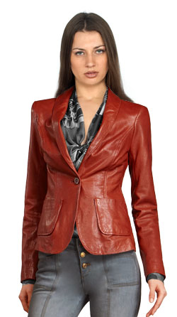 Retro Pattern Single Buttoned Official Leather Blazer