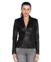 Formal Leather Blazer with Zipped Cuffs