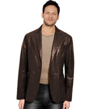 Shirt Type Mens Leather Blazer