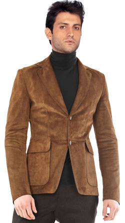 Waist Length Leather Blazer for Men