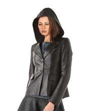 Hooded Chic Leather Blazer