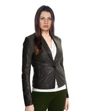 Sleek Fit Cozy Leather Blazer