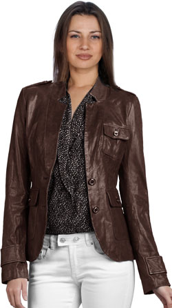 Lustrous Brown Leather Blazer