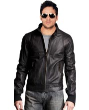 Sturdily Suave Leather Bomber Jacket for Men