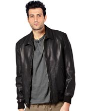 Classy Leather Bomber Jacket for Men with Ribbed Trim
