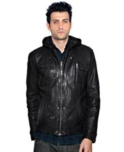Black Mens Leather Hooded Jacket at ShopStyle