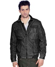 Leather bomber jacket for men with trendy worn out look