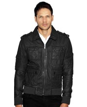 Epaulette Leather Bomber Jacket for Men