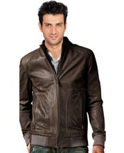 Tonal pick stitched trim leather bomber jacket for men