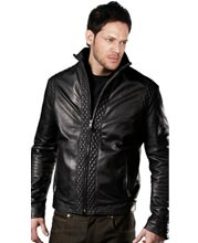 Diamond-quilted leather bomber jacket for men