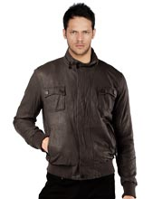 Snug Leather Bomber Jacket for Men