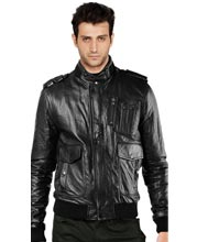 Glistening Leather Bomber Jacket for Men