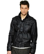 Virile Leather Bomber Jacket for Men