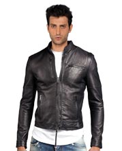 Snap-tab Leather Bomber Jacket for Men