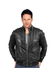 Elegant Zippered Lamb Leather Bomber jackets